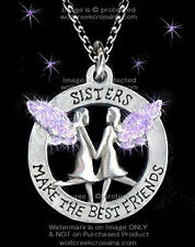 """SISTERS MAKE THE BEST FRIENDS NECKLACE ANGELS 24"""" PURPLE SWEET GIFT FREE SHIP"""
