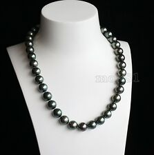 Rare Huge 12mm Genuine Black Round South Sea Shell Pearl Necklace 18'' AAA