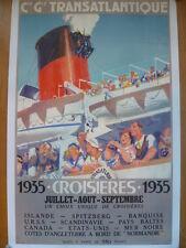 """Cie GENERALE TRANSATLANTIQUE-""""CROISIERES 1935 S/S  NORMANDIE""""-BRENET-FRENCH LINE"""