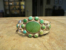 VERY OLD  Navajo Silver Turquoise CLUSTER Cuff Bracelet