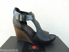 TSUBO NANCIE BLACK LEATHER ANKLE STRAP WEDGE HEELS, US 7.5/ EUR 38.5 ~NEW