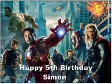 Avengers Marvel Personalised Wafer Paper Topper For Large Cake Various Sizes A4