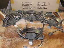 4 Duke #3 Coil Spring Traps  Beaver Fox Bobcat Coyote Wolf Trapping