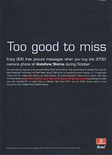 Sony Ericsson S700I Vodafone Live! 2004 Magazine 2 Page Advert #3130