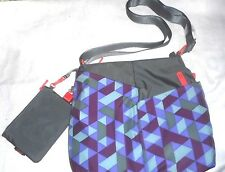 New Auth.Hedgren Eve purple print  Square  Crossbody Bag w matching zipper case