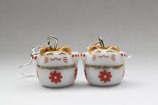 HANDMADE Lucky Beckoning Cat Maneki Neko Kawaii Dangling Drop Porcelain Earrings