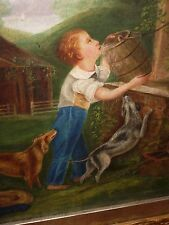 Antique 19th century oil painting American School a drink from well