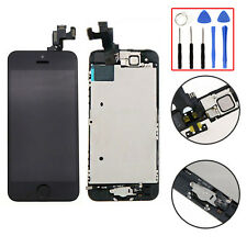 For iPhone 5S Black LCD Touch Screen Digitizer Complete + Home Button + Camera