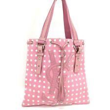 f7fd52763 Yves Saint Laurent Kahala Polka Dot Pink Canvas Hand Tote Bag /3113y