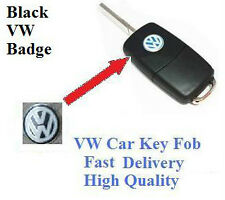 2 x VW BLACK Car Key Fob Remote Badge Logo Emblem Polo Golf Passat Bora Sirocco