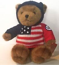Celebrate USA Teddy Bear Stuffed Animal Plush Red White Blue Flag Sweater 1999