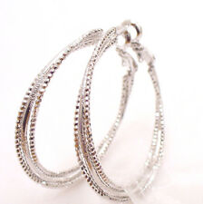 fashion1uk Women's Leverback White Gold Plated Triple Ring Hoop Earrings 38mm