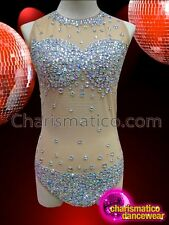 Showgirl's Sexy Nude Toned Crystal Accented Costume Base Dance Leotard