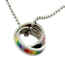 RAINBOW RINGS NECKLACE Stainless Steel LGBT PRIDE Gay Lesbian Marriage Wedding
