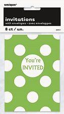VERT à pois - 8 Carte D'invitation Pour Fête - à pois Fête D'anniversaire