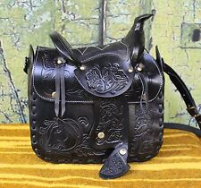 Hand Tooled Leather Western Saddle Shoulder Bag, Oaxaca Mexico, Hippie, Cowgirl