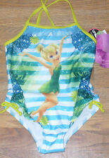 NWT Disney Tinkerbell Onepiece Swimsuit 4 Blue Green Stripes Cute!