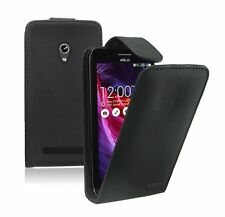 BLACK Leather Flip Case Cover Pouch for Asus Zenfone 5 / +2 SCREEN PROTECTORS