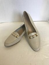 SALVATORE FERRAGAMO WHITE LEATHER  LOAFERS FLATS SIZE 8 2A US 7 $695 SOLD OUT