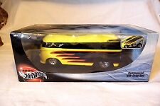 HOT WHEELS 1/18 CUSTOMIZED VW VOLKSWAGEN DRAG BUS - YELLOW w/BLACK FLAMES MIB