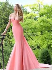 Tarik Ediz Blush Crystal Formal Prom Evening Gown Dress Small/4 Train 92339