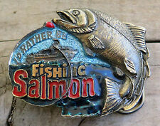 Salmon Fishing Angler Fish The Great American Buckle Company Vintage Belt Buckle