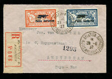 France 1927 Registered Airmail Cover Marseille to Holland with C1-2 franking