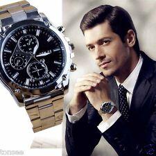 Luxe Mode Homme montre simili-cuir Loisirs Quartz montre analogique Montres noir