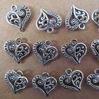 PJ29 20pc Hollow out Tibetan Silver Heart-shaped Dangle Charm Beads 14*15mm