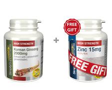 SS Korean Ginseng 2000mg 120 Tabs + FREE GIFT Zinc 15mg 60 Tabs (E361FG914)