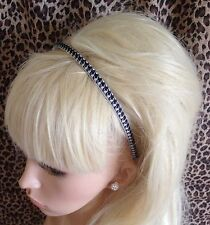 THIN HOUNDSTOOTH TWEED CHECK FABRIC ALICE HEAD HAIR BAND BLACK WHITE 60s MOD