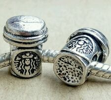 2PC S/P Starbucks Take Out Coffee Cup To Go European Charms Beads fit Bracelet
