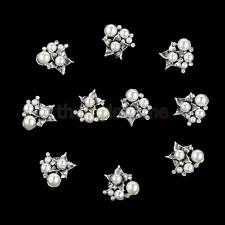 10 Pearl Flower Rhinestone Buttons Flat Back Embellishments Crafts Hair Bow