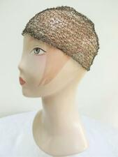 VINTAGE 1920's FLAPPER GILT WIRE & FAUX PEARL BEAD JULIETTE CAP CLOCHE HAT