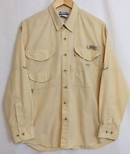 Men's Columbia PFG Long Sleeve Button Front Shirt Vented Fishing Beige Small S