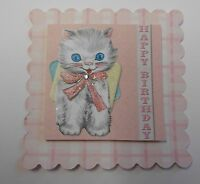 PK 3 HAPPY BIRTHDAY KITTEN EMBELLISHMENT TOPPERS FOR CARDS OR CRAFTS