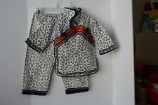 CHINESE Cultural Outfit jacket and pants Toddler Size 4 Navy Blue Off White