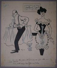 Beau Dessin Ancien Illustration Fille de Joie Chien MORISS Maurice Boyer c.1900