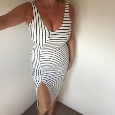 Zara White/blue Stripe Stretch Bodycon Midi Dress With Split Size M