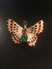 Vintage Butterfly Brooch Pin Gold Tone Made In Czechoslovakia Green Rhinestones