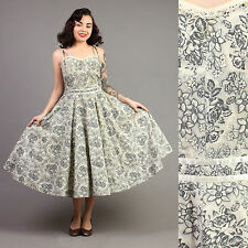 vtg GARDEN PARTY full skirt SUN rockabilly pinup vlv floral party dress 50s S