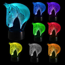 Horse Bedroom 3D Illusion LED Night Light Changing Color Touch Table Lamp Desk