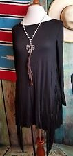 COWGIRL GYPSY BLACK FRINGE sides Tunic Dress Top Western LARGE