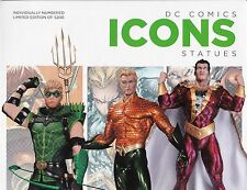 DC COLLECTIBLES ICONS STATUES AQUAMAN GREEN ARROW SHAZAM! RETAILER PROMO POSTER