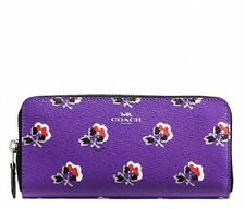 NWT Coach Bramble Rose Slim Accordion Zip Around Wallet Purple F56732