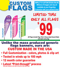 15' Full Color Custom Tall Advertising Angled Feather Flag Banner, Pole & Spike