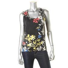 Elie Tahari 4093 Womens Black Eyelet Floral Cashmere Tank Top Sweater XS BHFO
