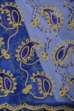 Sequins Paisley Coco Royal embroidery Sheer Polyester dress apparel fabric 54""
