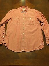 J Crew Men's Long Sleeve 100% Cotton Chambray Workshirt Red Size M
