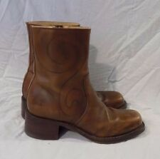 Frye 77745 Brown Leather Mid Calf Swirl Stitched Boots Sz 10